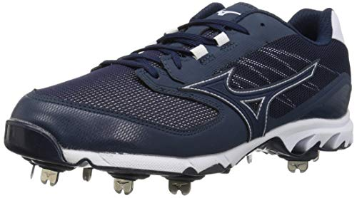 Mizuno 320561.5100.07.0700 9-Spike Dominant 2 Low Mens Metal Baseball Cleat Navy-White (5100) 7 (0700)