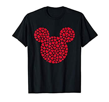 Disney Mickey Mouse Icon Filled with Red Hearts T-Shirt