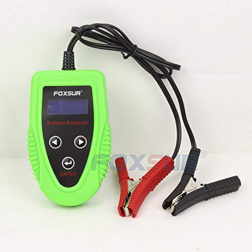 MXECO FOXSUR 12V Autobatterietester LCD-Batterieanalysator Scanner Batteriediagnosewerkzeug Gel AGM Wet CA SLA Batterie CCA IR SOH (grün)