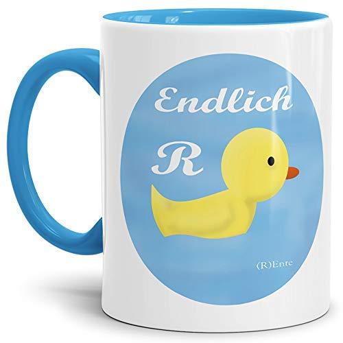 Tassendruck Geschenk-Tasse zum Ruhestand mit Spruch: Endlich (R) Ente/Rente/Rentner/Pension/Abschieds-Geschenk/Innen & Henkel Hellblau