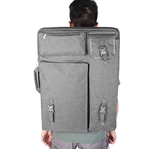 Bolsa de transporte de tablero de dibujo impermeable 4K grande multifunción de 4 colores Bolsa de suministros de arte, hecha de tela de lona, más suave y liviana(gris)
