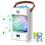 Moobibear Portable Air Conditioner, Rechargeable Mini Personal Air Cooler Fan with 3 Speed Modes, USB Powered Colorful Night Light Humidifier, 120° Auto Oscillation Desk Fan for Room Office