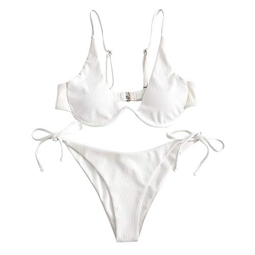 ZAFUL Damen Zweiteiliger Bügel Bikini-Set, Leopardenmuster Criss Cross Push Up High-Cut Gepolsterte Bikini Badeanzug (Weiß-3, S)