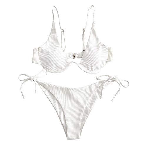 ZAFUL Damen Zweiteiliger Bügel Bikini-Set, Leopardenmuster Criss Cross Push Up High-Cut Gepolsterte Bikini Badeanzug (Weiß-3, M)