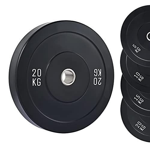 ZELUS Disco de Pesa 20KG con Orficio de 50mm Disco Olímpico para Pesas con Insertos de Acero Inoxidable Disco de Peso para Entrenamiento de Fuerza