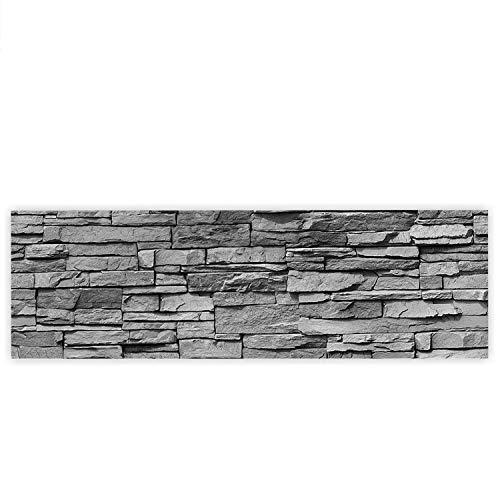 Leinwandbild 145x45 cm - Top - Wandbild XXL Kunstdruck Leinwand Bild Wanddeko Canvas - ASIAN STONE WALL - ANTHRAZIT - Steinwand Stein Steine Wand Steine Asien - no. 126, Qualität Leinwand:Premium Plus