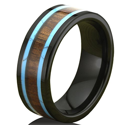 Fashion Month Men Women 8mm Black Ceramic Ring Vintage Wedding Engagement Band with Koa Wood Two Lines Solid Turquoise Size 8.5
