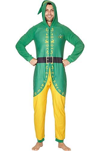 INTIMO Elf The Movie Mens Buddy The Elf One Piece Costume Pajama Set, Green, Large