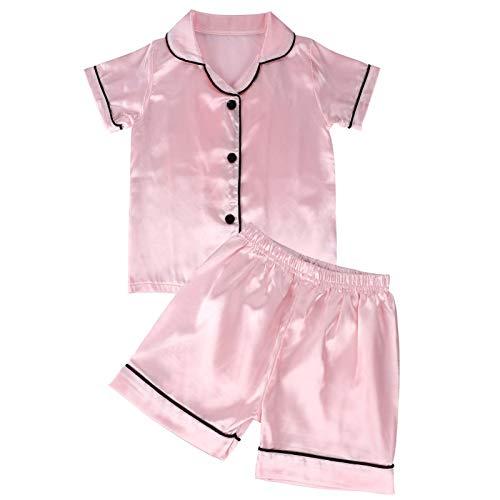 VAMEI Pijamas de bebé para niños niñas de Seda de Manga Corta para bebés Ropa de Dormir Primavera Verano Pijamas Ropa de Dormir (Rosado, 120)