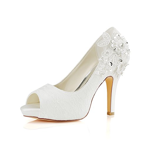 Emily Bridal Brautschuhe Spitze Hochzeitsschuhe Elfenbein Spitze Peep Toe High Heel Brautschuhe (EU35, Elfenbein)