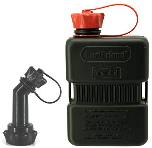 FuelFriend®-Plus 1,0 Liter - Sonderserie Black - Klein-Benzinkanister Mini-Reservekanister + verschließbares Auslaufrohr