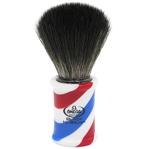 Omega 0196735 Rasierpinsel Black Hi-Brush - Barber Pole