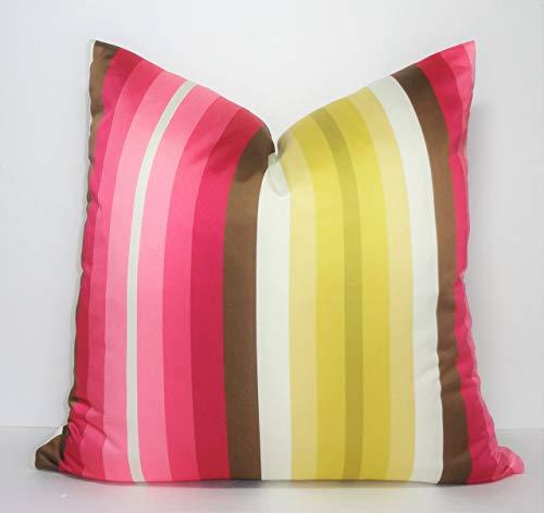 Ad4ssdu4 Funda de Almohada, diseño de Rayas de satén de Color Fucsia, Rosa, Amarillo, marrón, Marfil, tamaño 18 x 18 cm