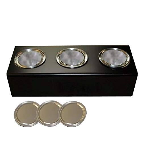 Great Deal! Black metal stand with 0.5 litre ethanol fuel cans and ceramic sponges