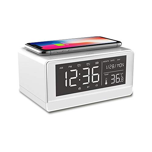 Wireless Charging Clock Bluetooth Speaker, HD LED Display Clock Temperature Display, Hands-Free Call, (White)