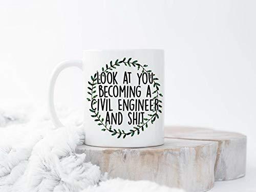 Tazas de ingenieros civiles, divertido ingeniero civil, taza de café, ingeniero civil, regalo de ingeniero civil, tazas de regalo para ingenieros civiles, regalo para ingenieros civiles, oficina en casa, mujeres, hombres, taza de té, regalo divertido para personalizar, 11 onzas, color blanco