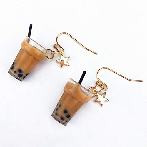 fivekim 1 par creativo lindo mini limón negro té leche taza té bebida taza pendientes minimalismo diseño de dibujos animados femeninos ganchos colgadores joyería regalo hielo té negro perla pendientes