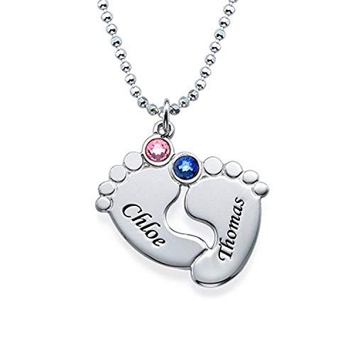 Linpton Halskette für Damen Personalisierte Geburtsstein Baby Fuß Halskette mit 2 Namen Sterling Silber Anhänger