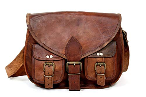 Jerry Leder nature Genuine Leather Handbag Purse Shoulder Cross Body Bag Messenger Vintage City Leisure Bag Small Unisex Brown
