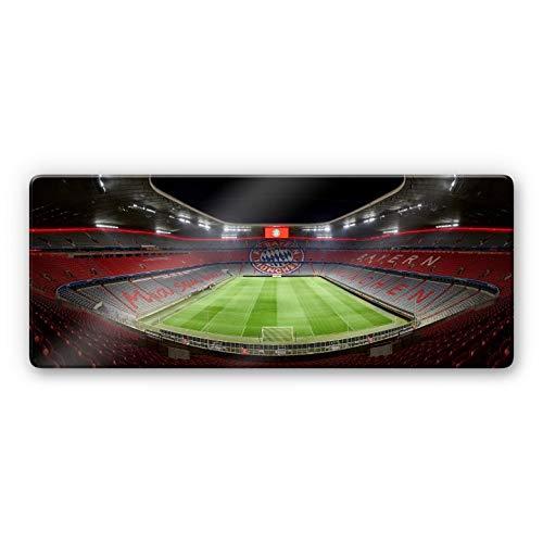 Glasbild FCB Stadion bei Nacht Wandbild Bayern München Allianz Arena Fußball Bundesliga Rekordmeister Sportverein Spiele Mannschaft Panorama mit Wandhalterung Wall-Art - 80x30 cm