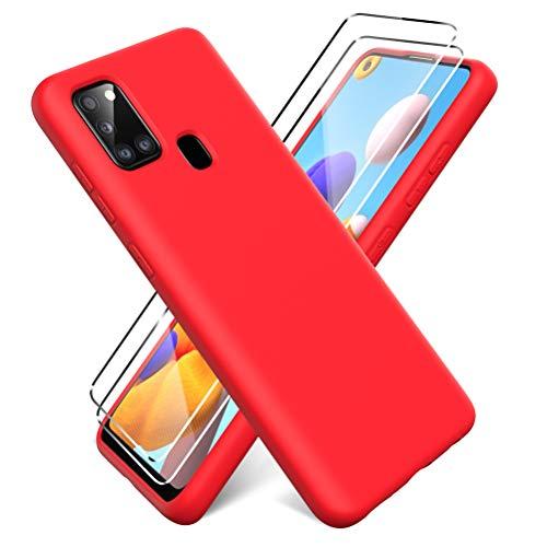 Oududianzi - Funda para Samsung Galaxy A21s + [2 Pack] Protector Pantalla, Carcasa de Silicona Líquida Gel Ultra Suave Funda con tapete de Microfibra Anti-Rasguño - Rojo