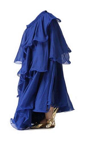 A-Express - Falda larga, Tres capas, para bailar samba, danza del vientre, Mujer, color azul real, tamaño Talla única