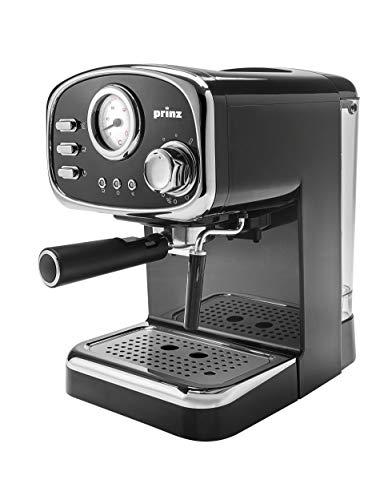 Prinz Espressomaschine im Retro Design - Milchaufschäumerdüse - 1,25 Liter abnehmbarer Wassertank