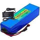 FREEDOH Batería Iones Litio Bicicleta Eléctrica 48 V Paquete Batería Litio 14 Ah 13S5P Batería PVC Impermeable Batería Recargable para Motores Menos 700 Vatios con Cargador+ BMS 15A
