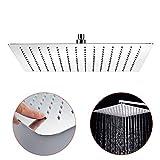 Aufun Regenbrause Duschkopf Regendusche Quadrat 40 cm Modern Schwenkbar Einbauduschköpfe aus Edelstahl mit Anti-Kalk Düsen Poliert Regenduschkopf, Quadrat 16 zoll