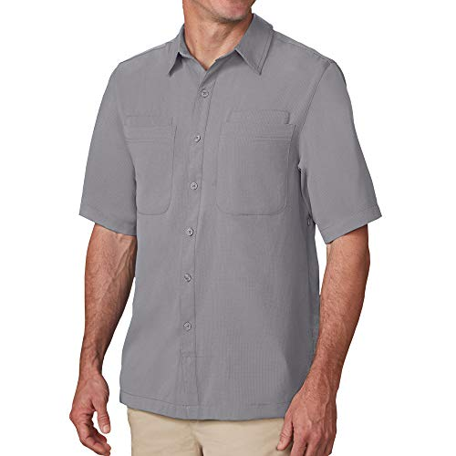 SCOTTeVEST Herren Beachcomber Travel Shirt | 7 sichere Taschen | Anti-Pickpocket - Grau - Klein