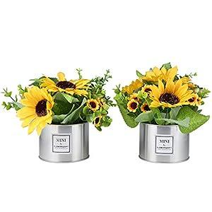 LUEUR Artificial Sunflowers in Pot, Artificial Silk Sunflower w/Metal Pot Bonsai, Artificial Flowers in Metal Vase Fake Sunflower Bouquet with Vase Daisy Arrangement for Home Decor Wedding Decoration