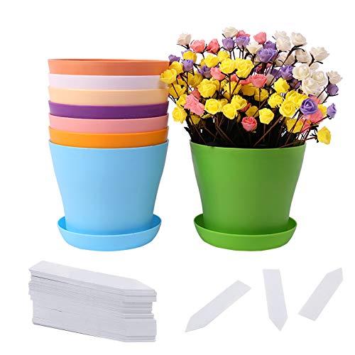 GLAITC Fioriere in plastica Vasi per Piante da Interno, 8 Pezzi Fioriere in plastica Decorative con piattini Etichette per Piante per Ufficio da Giardino Tutte Le Piante da Appartamento