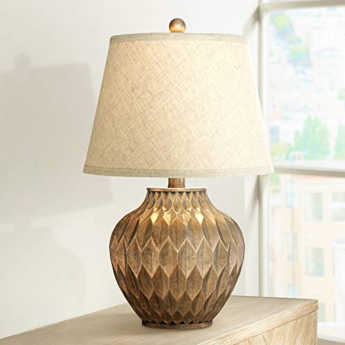 Buckhead Modern Accent Table Lamp Warm Bronze Geometric Urn Tapered Drum Shade for Living Room Family Bedroom Bedside Office - 360 Lighting