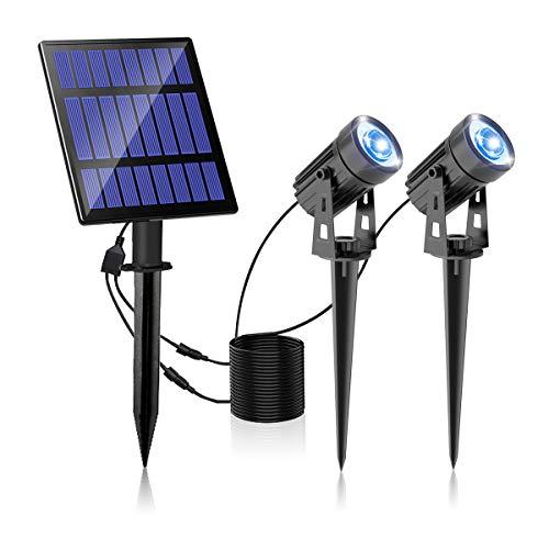 T-SUNRISE IP65 - Lámpara solar exterior para exterior, foco solar exterior, luz LED exterior para árbol, patio, patio, jardín azul, juego de 2