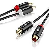 SEBSON Extensión RCA 1m, Cable Audio RCA 2 Macho a 2 Hembra, Cable RCA Rojo/Blanco, Alargador Cable Audio AUX