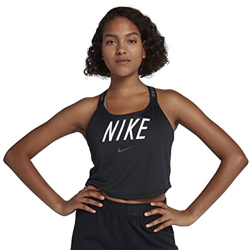 Nike Dri-Fit Elastica da Donna, Donna, Canotta da Allenamento, 898253-010, Nero/Fumo/Bianco, XL
