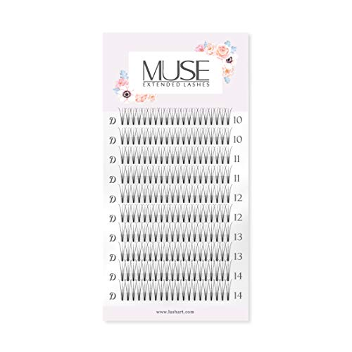 Russian Volume Lashes Pre made Fan Lashes | Short & Thin Base | MUSE Extended Lashes 3D 0.07 Faux Mink C D Curl | Individual Eyelash Extensions (D MIX)