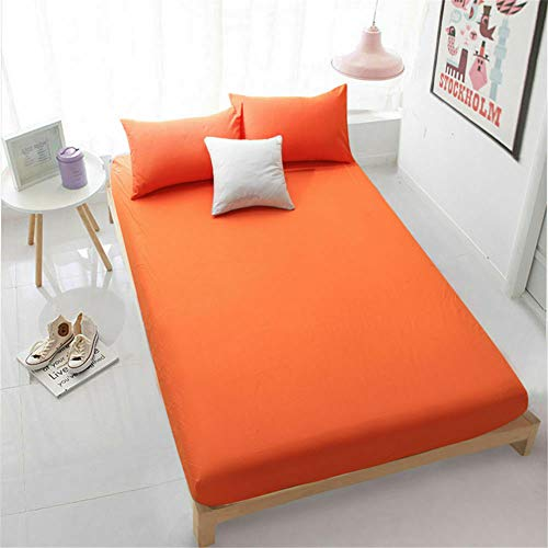 Amour Càlin Bedding Fitted Sheet Soft Easycare & Clean | King Size Fitted Sheet | Percale Quality | Orange | Long Lasting Polycotton Bedding