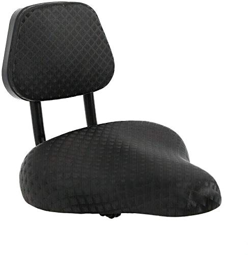 Backrest Saddle Bike Seat, Replacement Soft Back Rest Universal Wider Tricycle Saddle with Backrest PU Cushion Covered, Oversize Thicken Foam Bicycle Saddle Pad