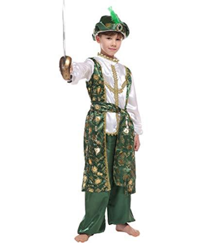 Jcyanz Traje de la lámpara mágica Disfraz Carnaval Boy magnífico príncipe árabe Cosplay Aladino niños de Vestir Fiesta de Halloween de los niños,XL
