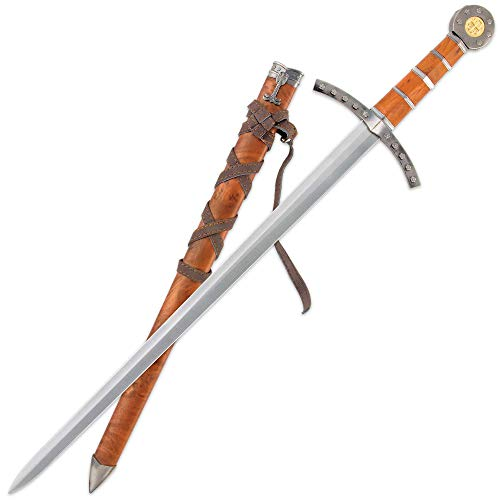 Tomahawk Middle Ages Medieval Broad Sword and Matching Faux Brown Wood Scabbard with Faux Leather Wrapping - 17' Stainless Steel Blade