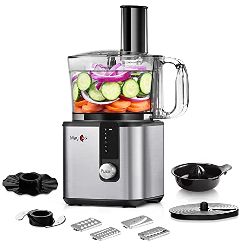 8 Cup Food Processor-MAGICCOS 7-in-1 Multifunctional Small Vegetable Chopper, Upgraded 750W, 5 Variable Speeds & Pulse for Slicing, Chopping, Fine/Coarse Grating, Emulsifying, Pureeing & Juicing