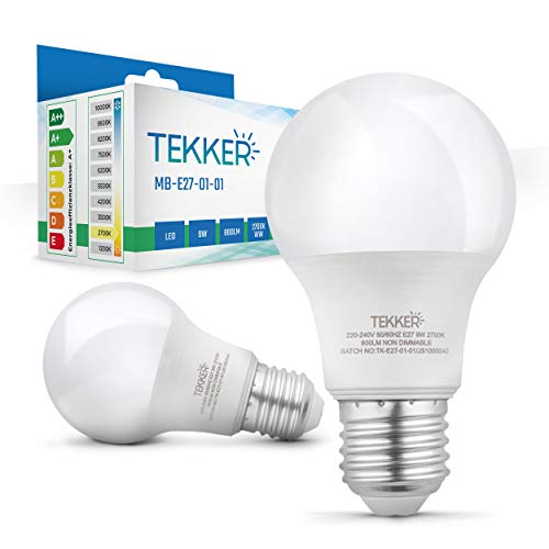 TEKKER® Premium E27 LED – 2 Stück – Warmweiss – 2700 K – 9W – 800 Lumen – 15.000 Stunden Lebenszeit – Energieklasse A+ – Ersatz für 60W Halogenlampen