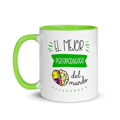 Kembilove Taza de Desayuno del Mejor Psicopedagogo del Mundo – Tazas de Café para Profesionales y Trabajadores para la Oficina – Tazas de Té en Color de Profesiones – Taza de Cerámica de 350 ml