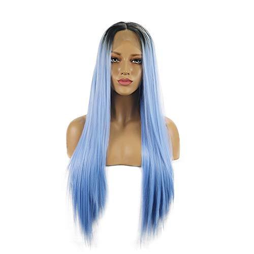 Lang Natural Straight Sky Blue Hair met Dark Roots Pruiken 26 Inches Hittebestendige vezel Haar Lijmloze Pruik for vrouwen Partij van het Kostuum Cosplay