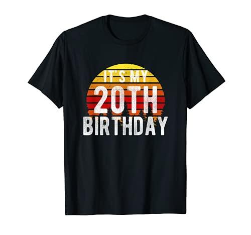 Funny It's My 20th Birthday Camisa retro vintage regalos de puesta de sol Camiseta