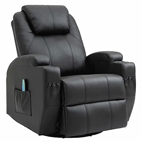 Fernsehsessel Relaxsessel Massagesessel mit Wärmefunktion und Vibration,Fernbedienung 360° Drehbar Black