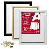 AUREUO Pinewood Floating Frame and Canvas Set - 16x20 Inch Floater Frames with Stretched Canvases for Painting - 3 Pack, 3 Canvas Frames, 1-1/4 Inch Deep & 3 Blank Canvases - Black, White & Natural