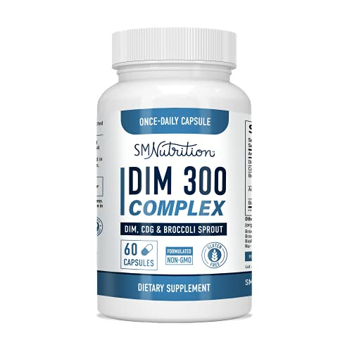 DIM 300mg Supplement Complex (60 Capsules) Diindolylmethane Plus BioPerine, CDG, & Broccoli Sprouts - Aromatase Inhibitor for Men; DIM for Weight Loss, Acne, Hormone Balance, & Liver Health*