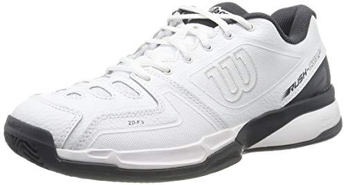Wilson Rush Comp LTR CC, Scarpe da Tennis Unisex-Adulto, Bianco/Bianco/Grigio, 47 EU